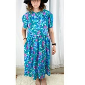 Vintage Leslie Fay Prairie Maxi Dress Floral Print
